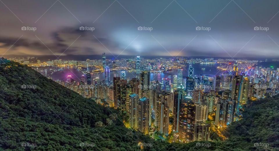 Illuminated city in Hong kong