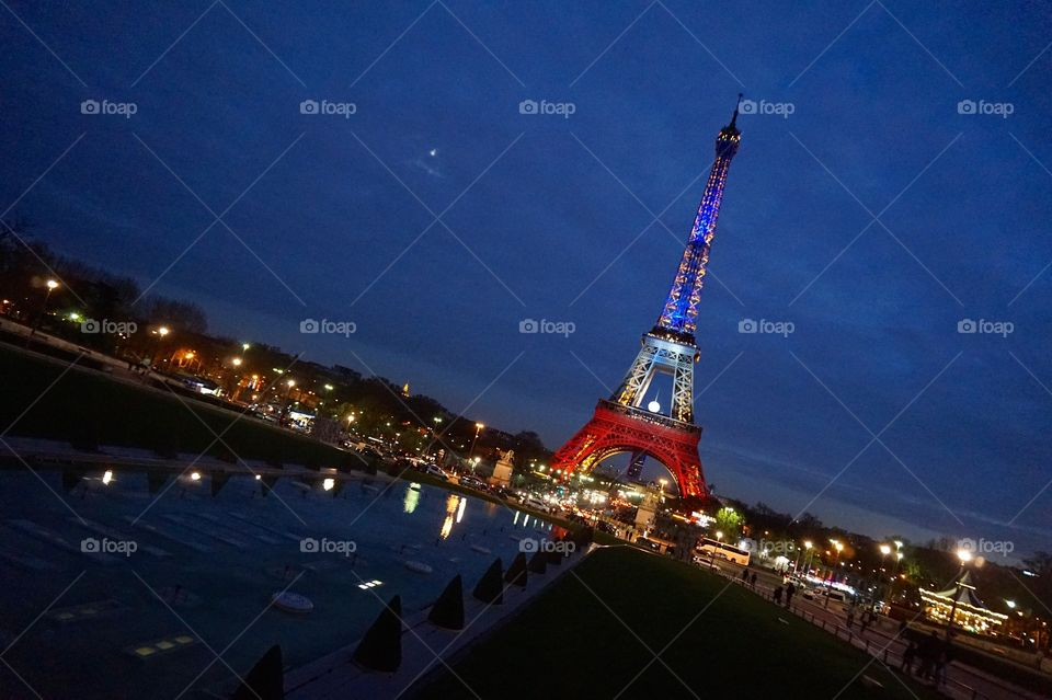 View of the Eiffel Tower after the Paris attacks