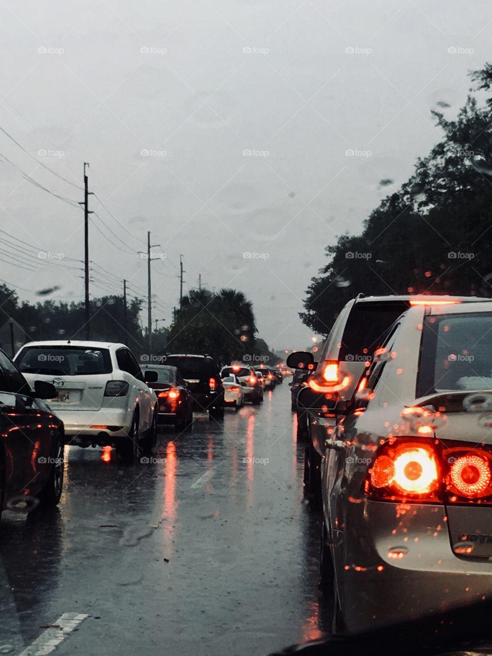 Traffic on a rainy road