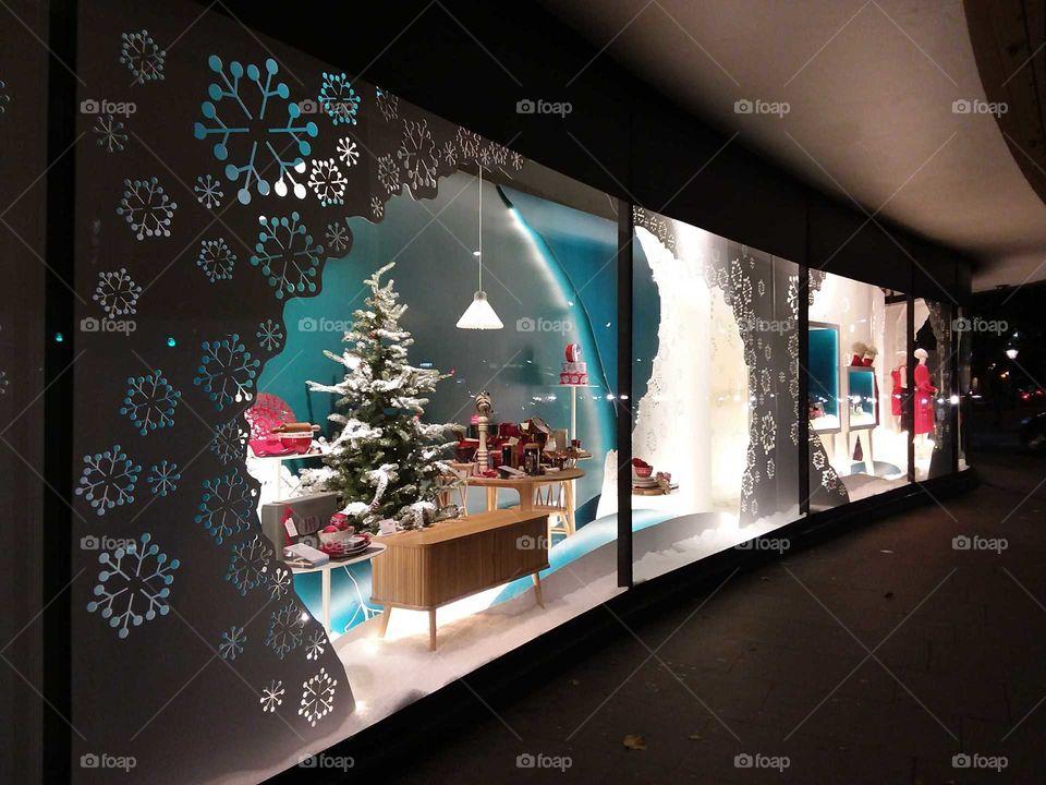 Peter Jones shop window display at Christmas Sloane square Chelsea Kings road London