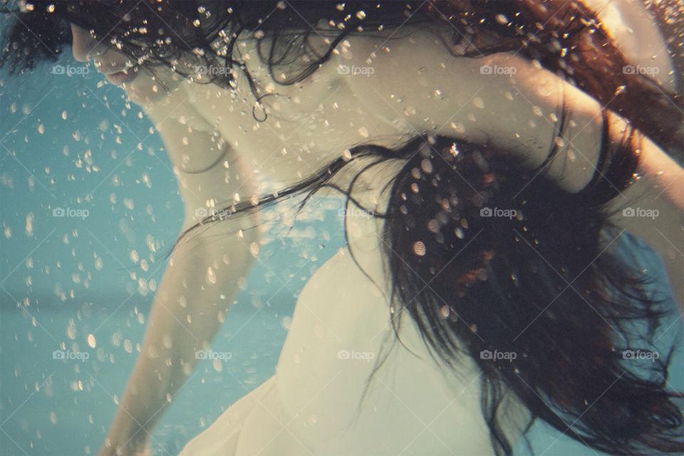 girl, dress, hair, underwater