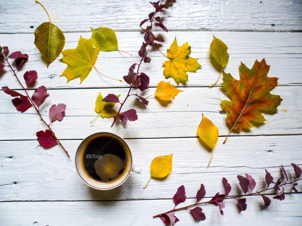 cup of coffee and a multi-colored autumn foliage