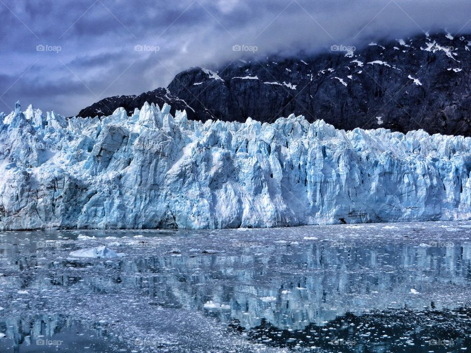View of glacier with mountain