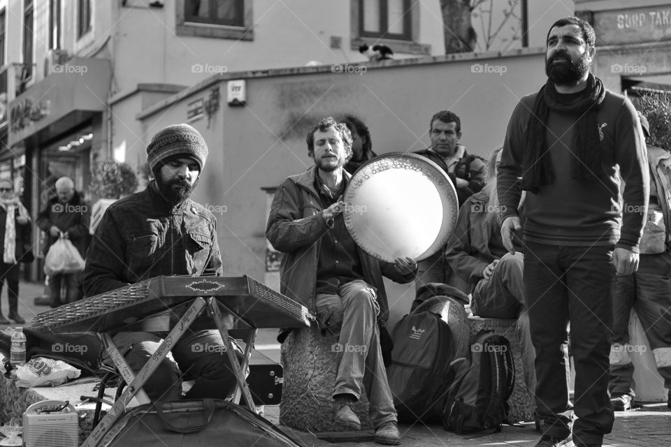 Music of the street. Street musicians in Istanbul