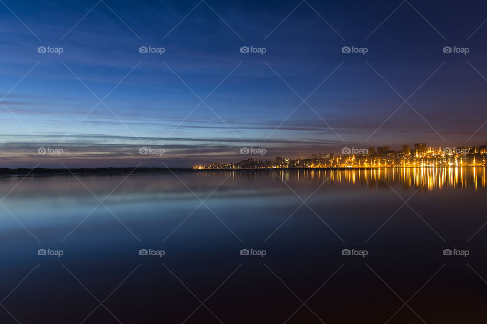 Night falling in Porto, Portugal.