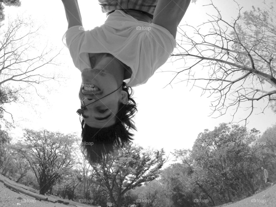 "Upside down. I love to do backflip, why not to take a ""selfie"" while upside down?"