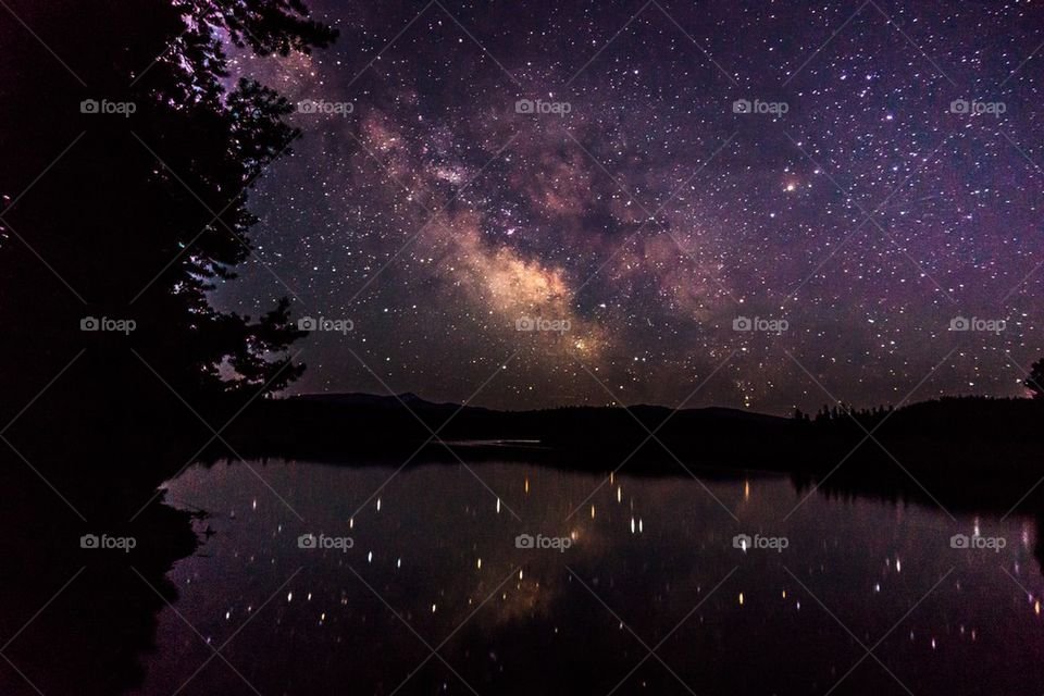 Milky way reflected on lake