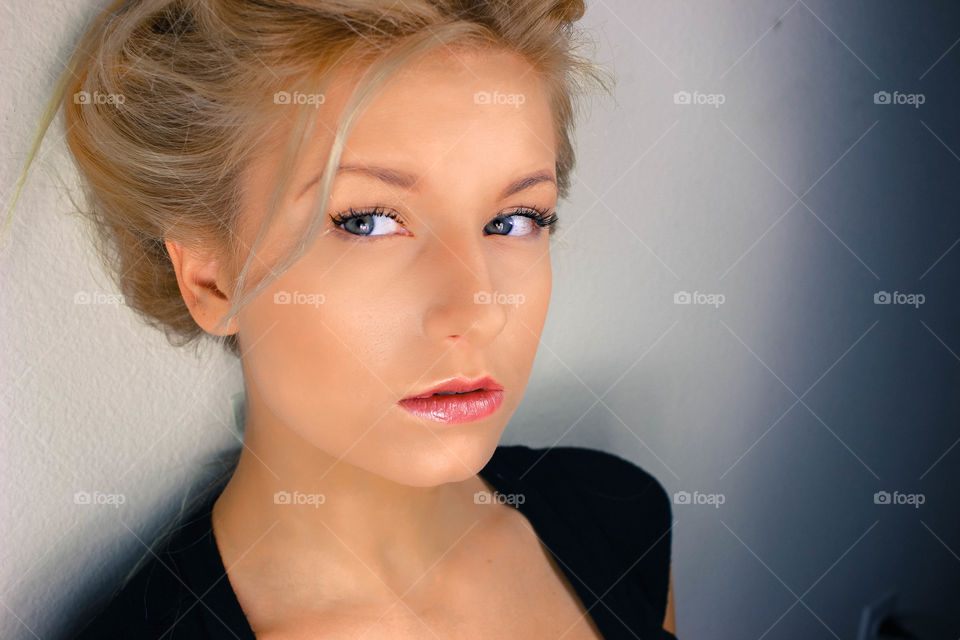 Extreme close-up of young woman's face