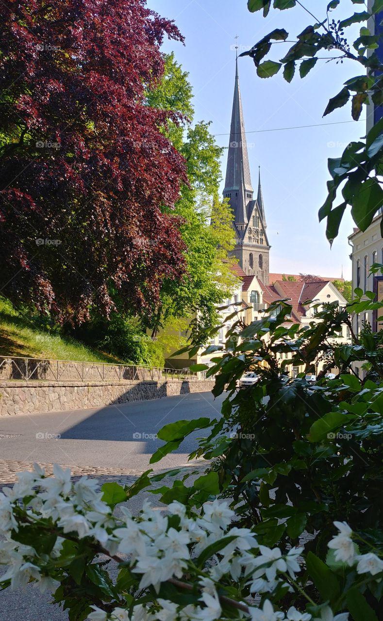 Kirche stadt Blumen blüten Straße steine wweg baum sommer frühling