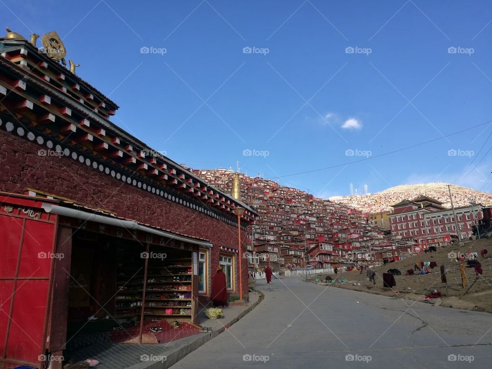 NSe Da Buddhist Monastery and School in Sichuan Province, China.  Se Da is currently the largest Tibetan Buddhist school in the world and not open to westerners.