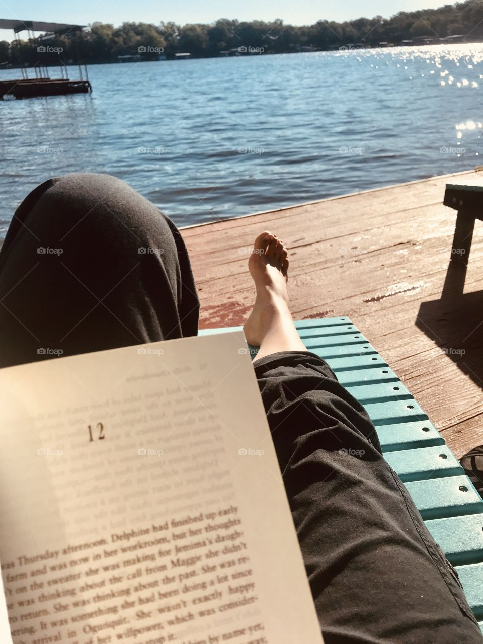 Reading a wonderful book on a lounge chair on the dock on a gorgeous lake morning is a great way to keep your mind in shape!!