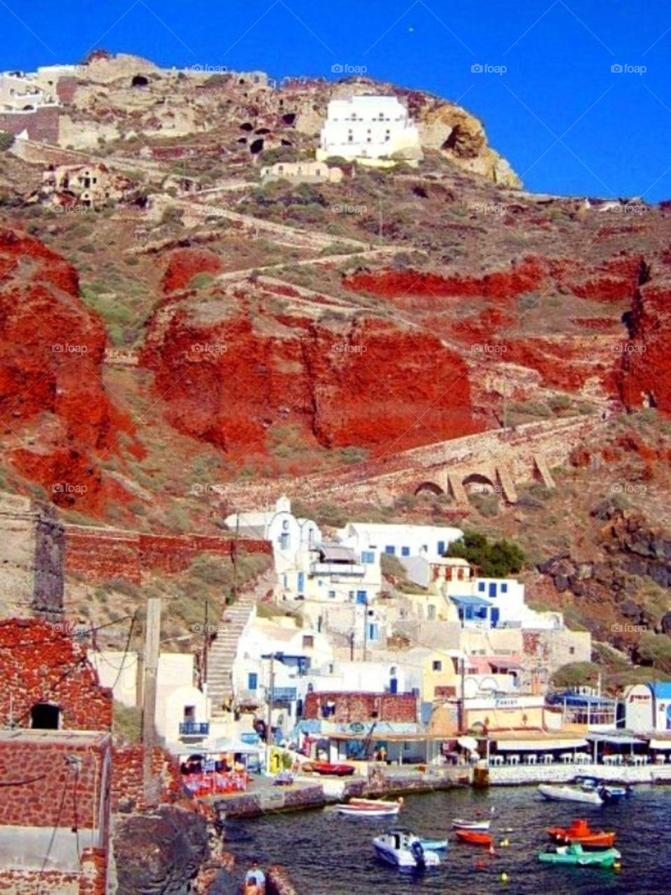 mountain village greece santorini by merethe