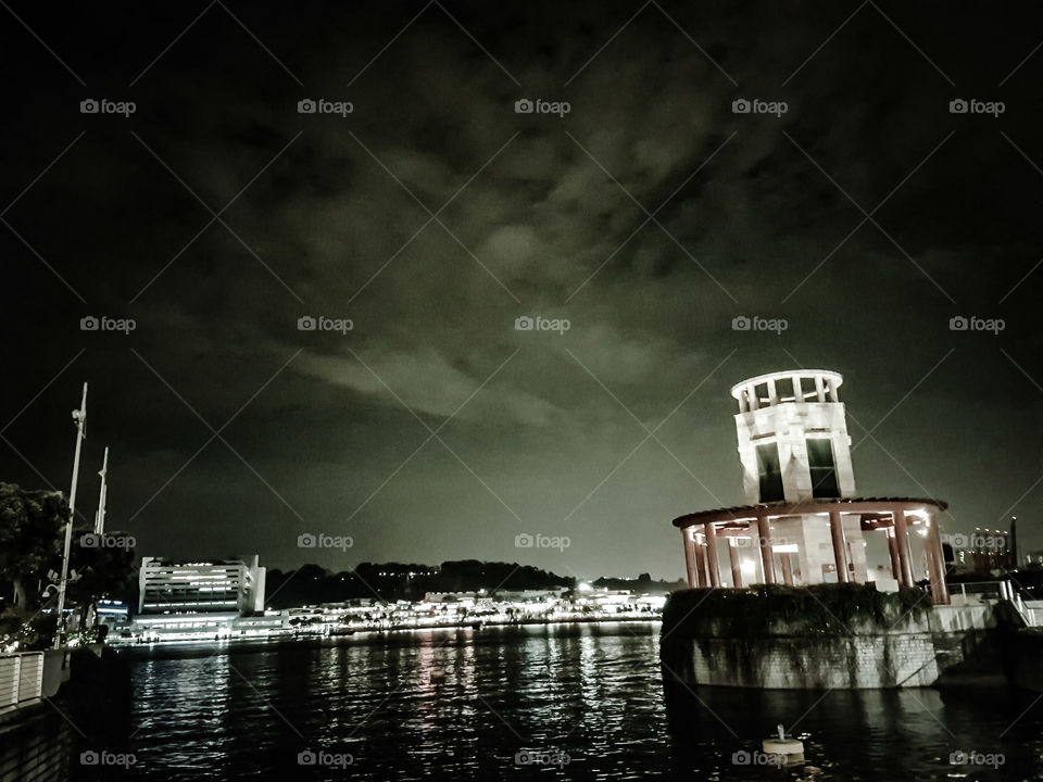 Night view of cityscape across river