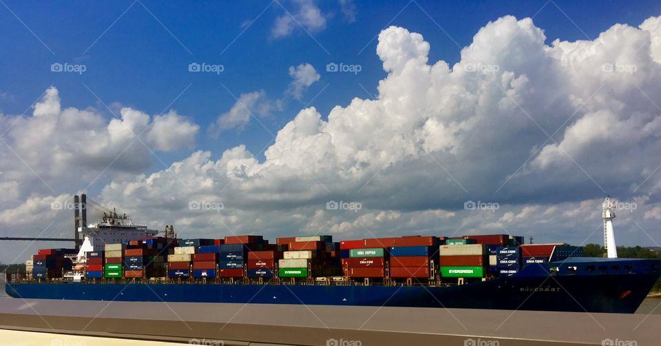 Beautiful Savanna Inland Waterway Colorful Cargo Ship
