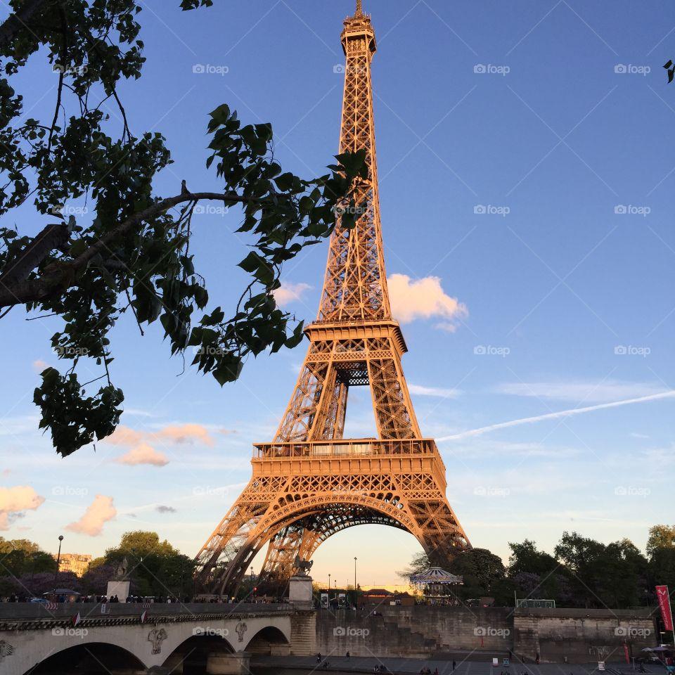 Eiffel tower. Paris by sunset