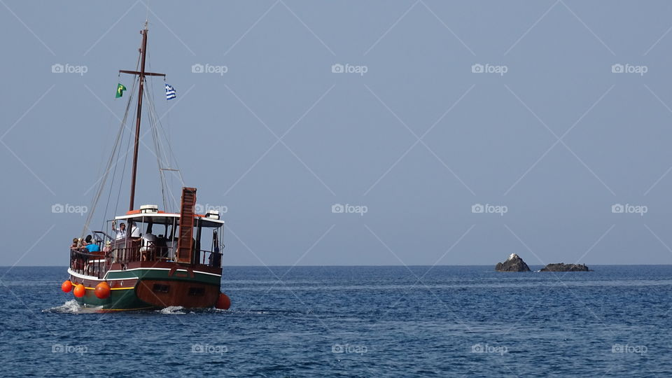 Tourist travelling in boat