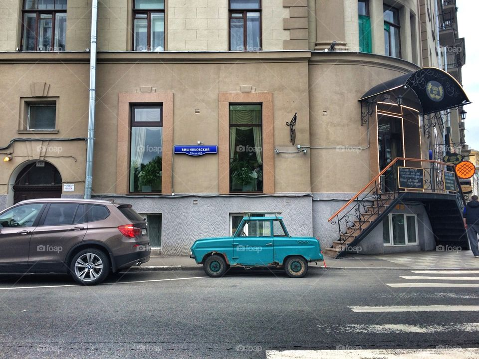 Small car . Little old car in Moscow, Russia