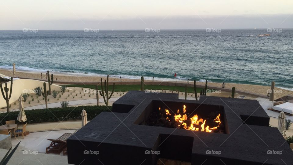 Fires above the ocean