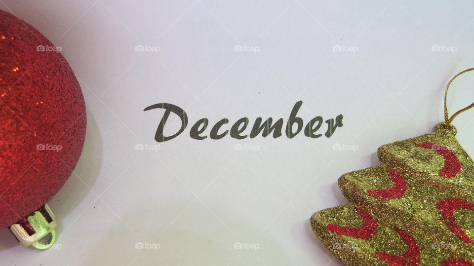 December word with ornaments with white background