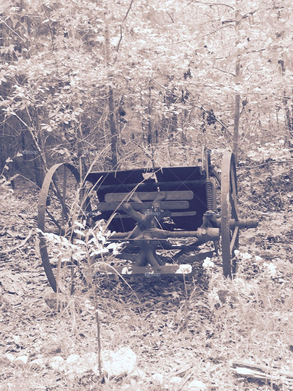 Part of wooden antique wagon out in the  grass.