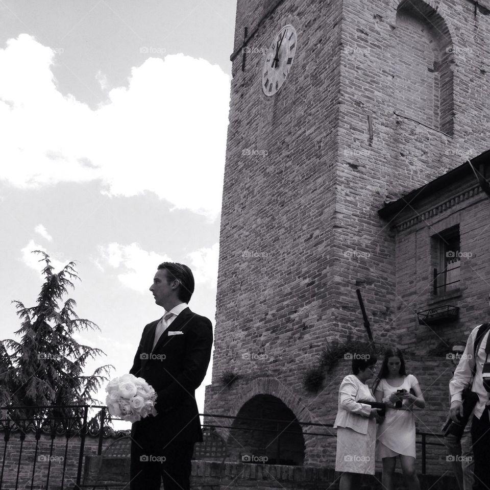 Groom waiting bride