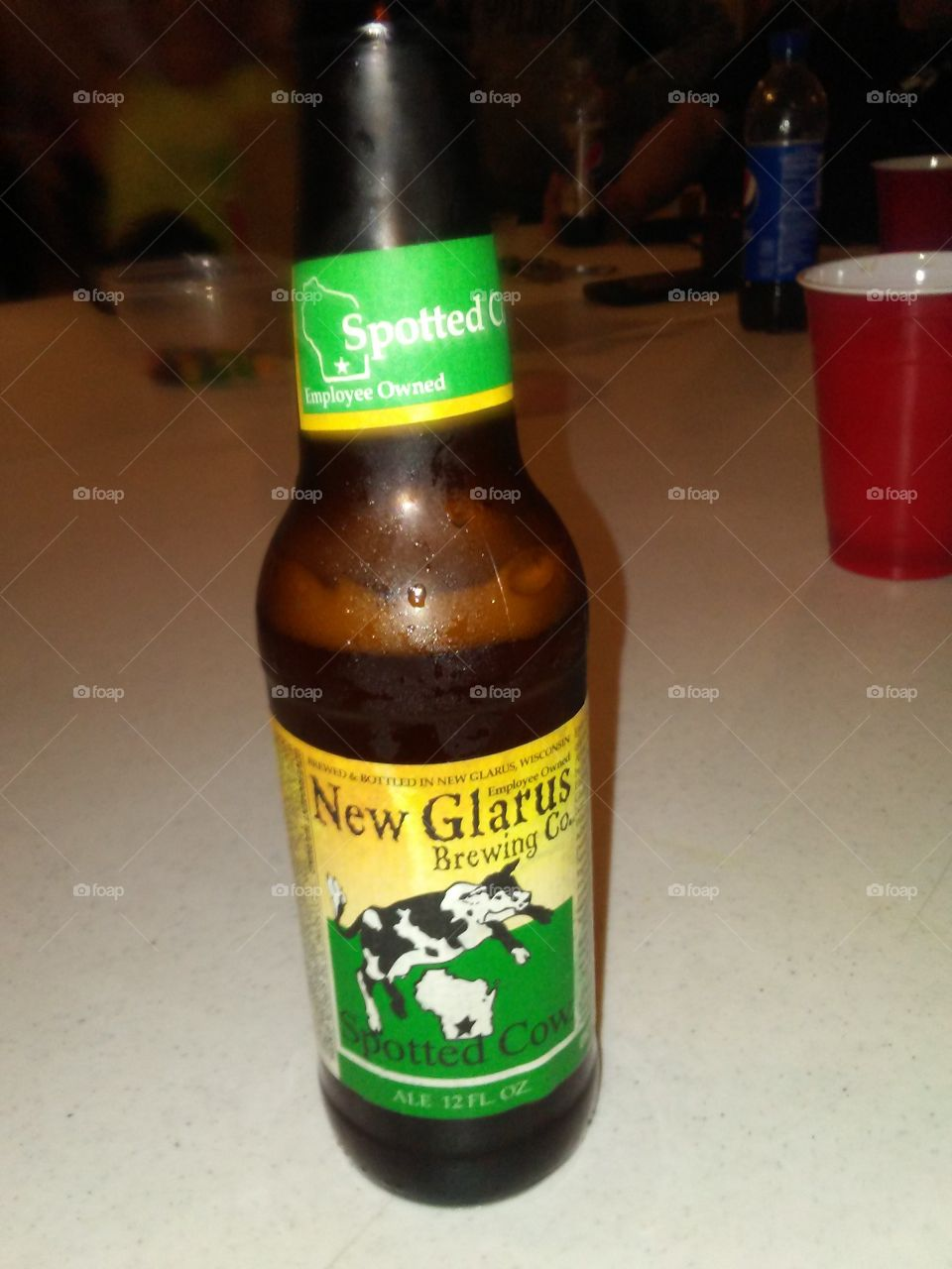 Drinking a Spotted Cow, a Farmhouse Ale made by the New Glarus Brewing Company Southwest of Madison, Wisconsin.  Their beers and ales are only distributed and sold in Wisconsin.