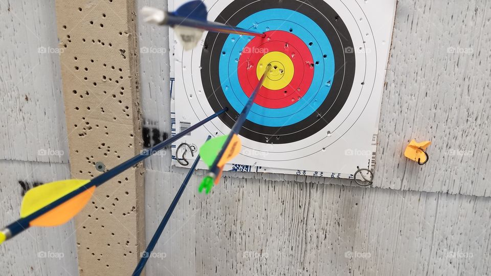 Arrows in a target at an archery range