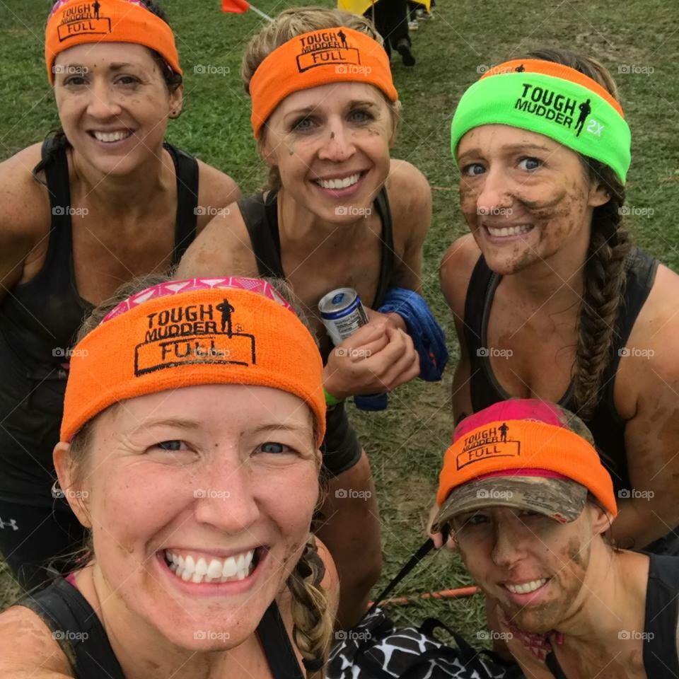 Our team of fearless females after completing the Tough Mudder run.