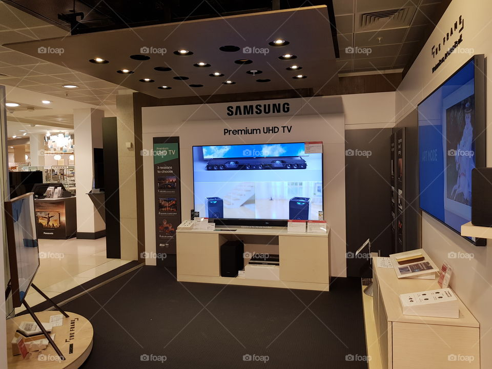 "Samsung premium cinema room at Peter Jones 82"" television with Dolby Atmos cinematic experience"