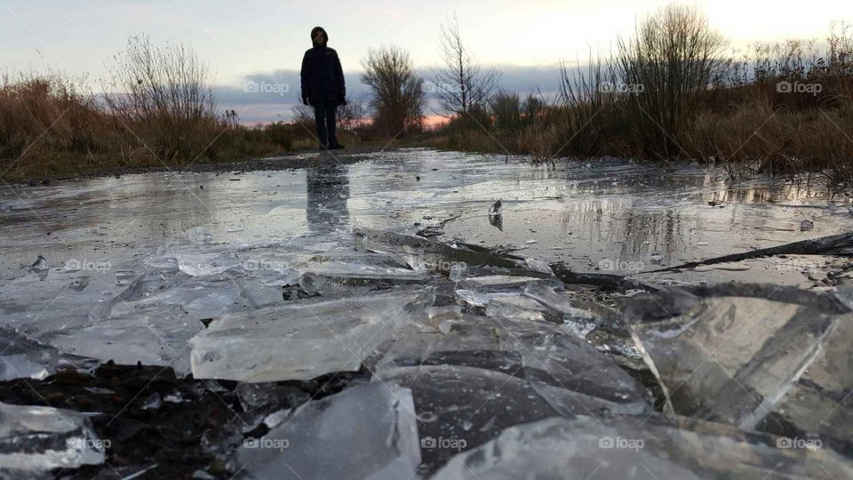 Icy road in wintertime