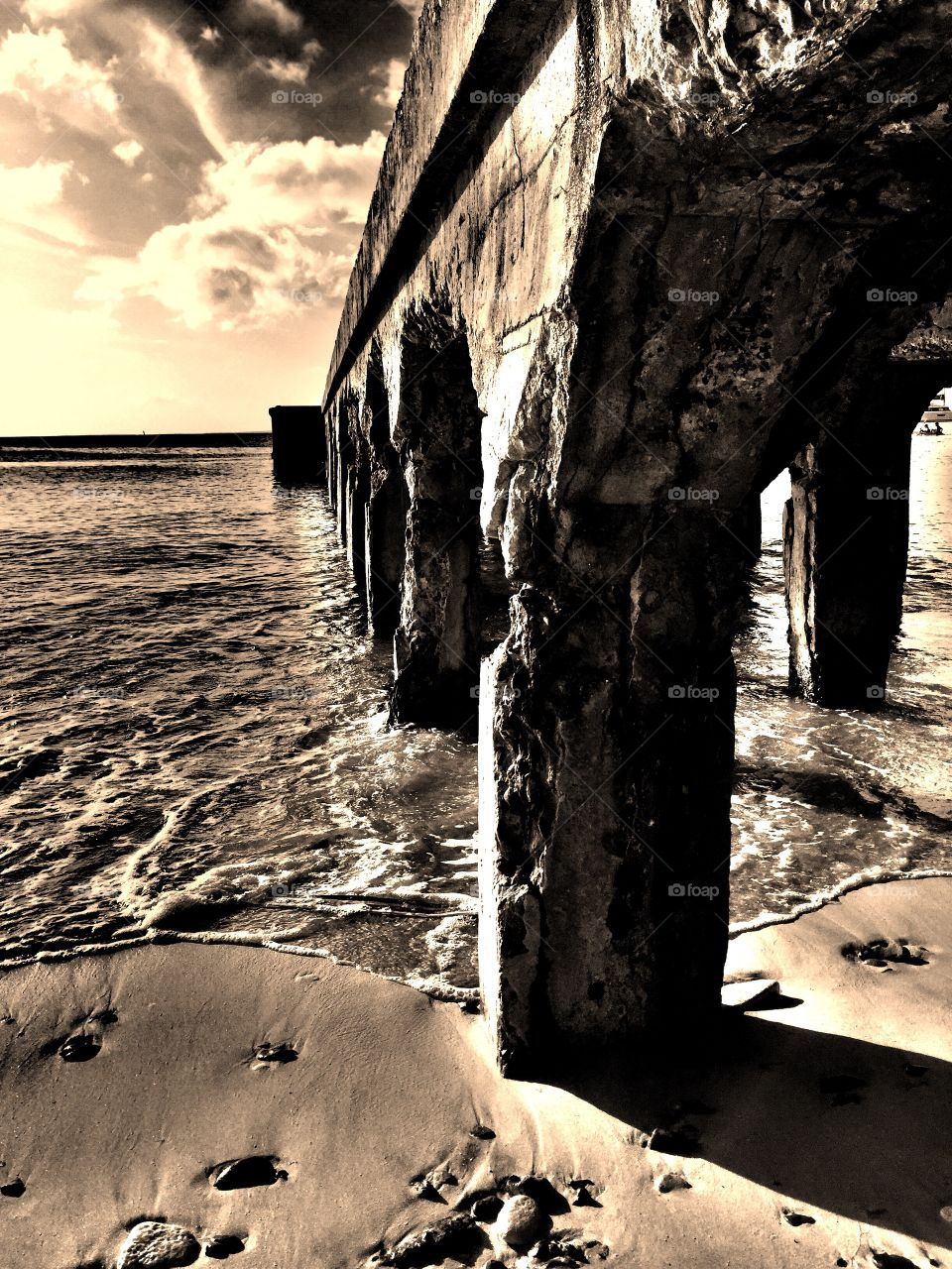 Show Us Your Best Photos, Monochromatic Pier On The Ocean, Waves Crashing Into Pier, Dramatic Landscape