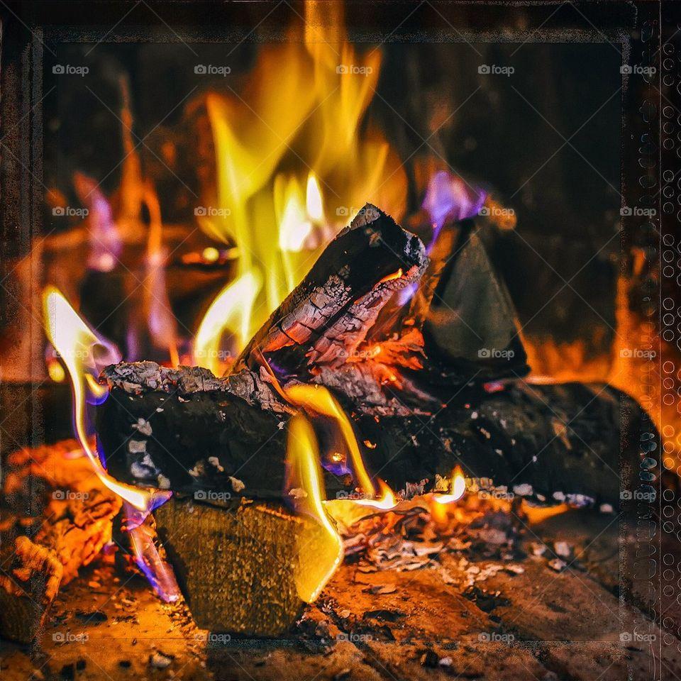 Vintage winter fire