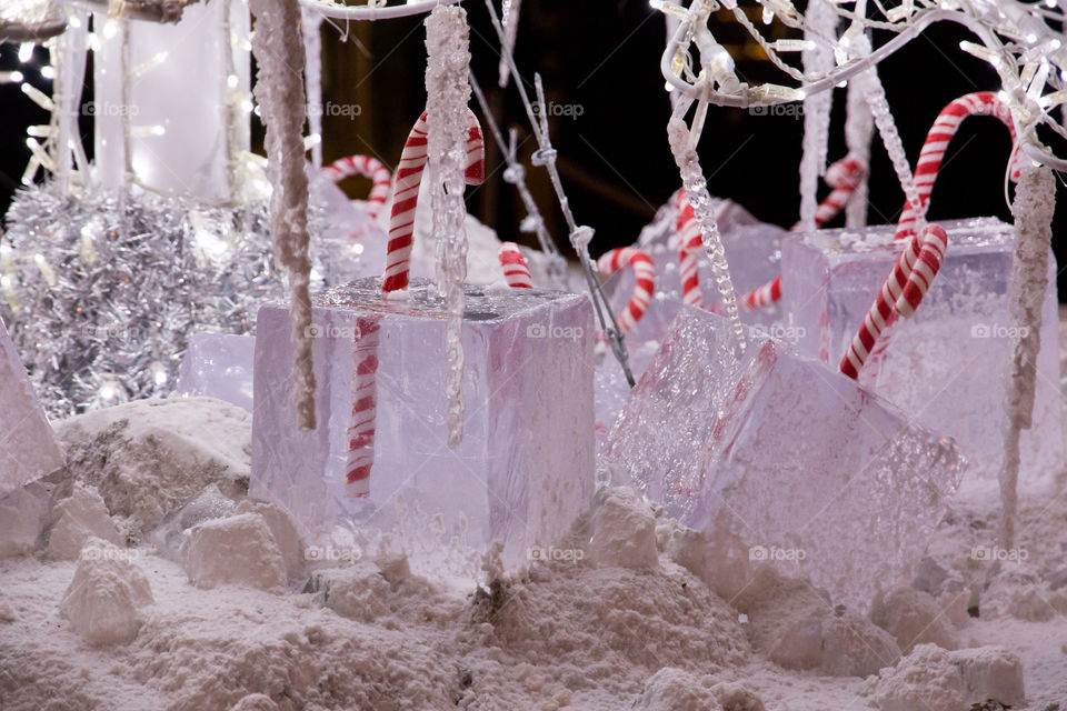 Christmas decoration, snow , ice , red and white candy canes