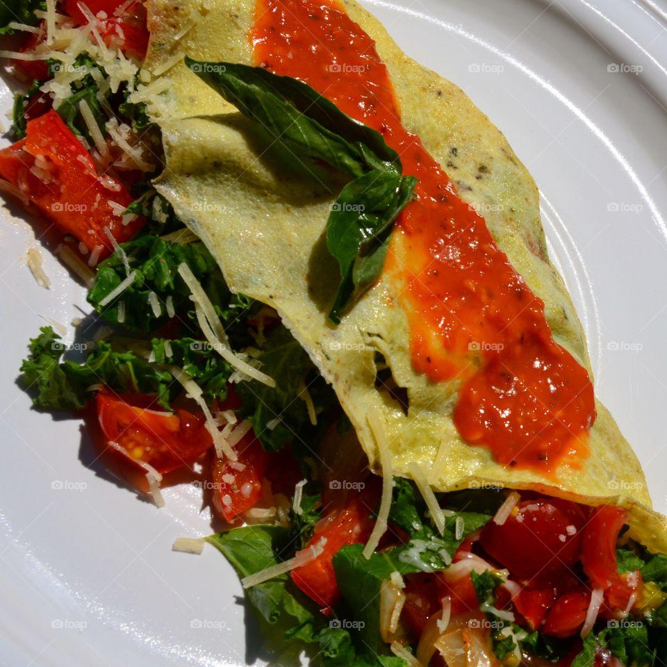 Crepe Like Power Omelette . Vegetable packed Omelette