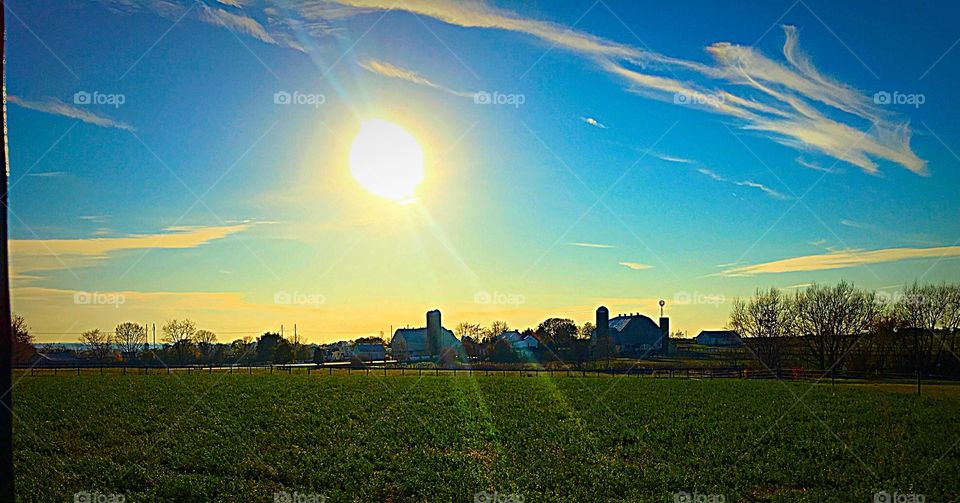 Sunset view of amish country lancaster