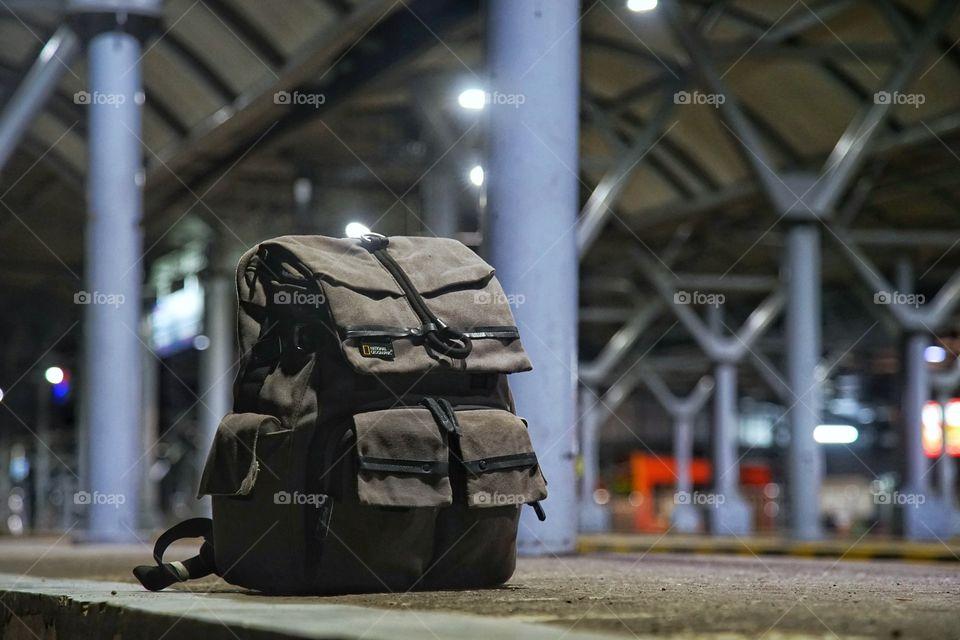 the traveller's backpack