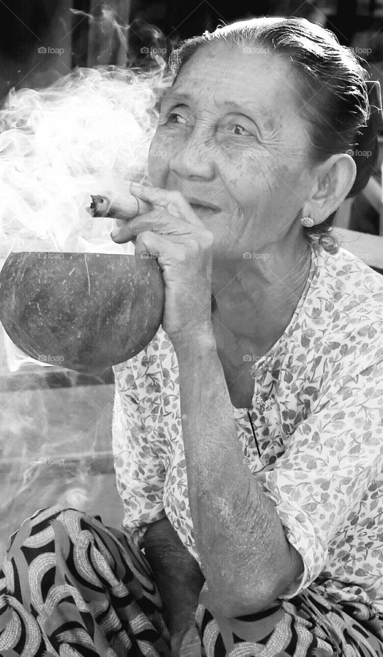 Myanmar Cigar Smoker