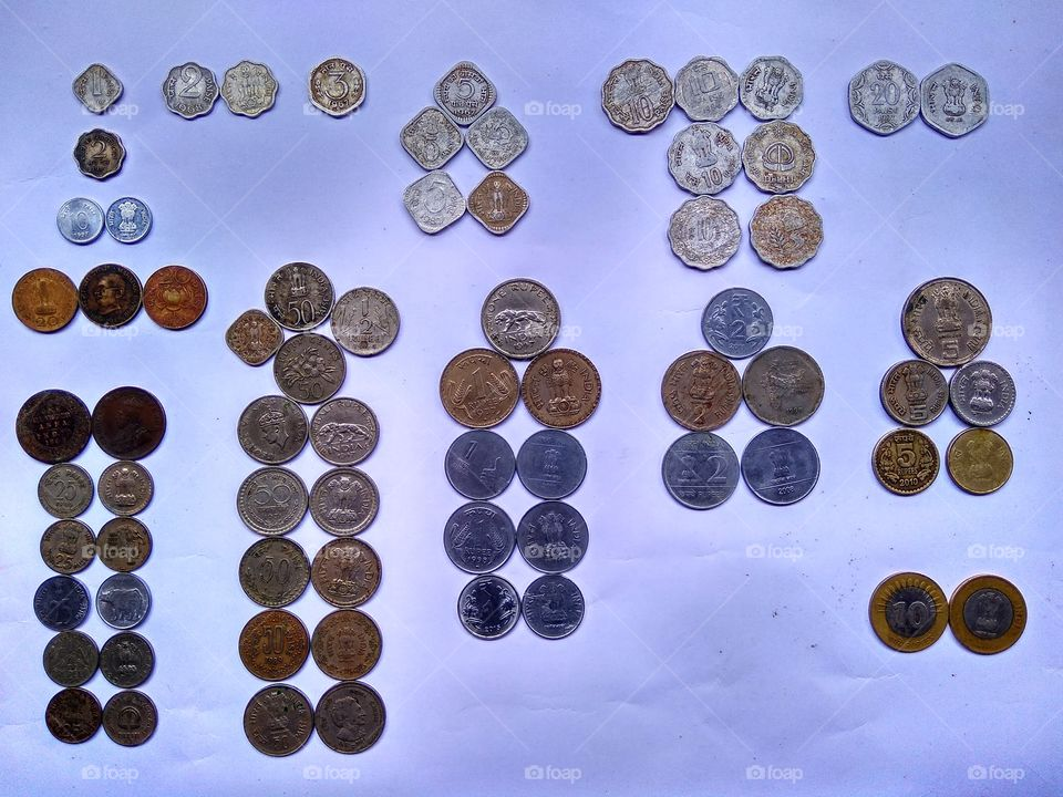 Coleccion of old to new coins