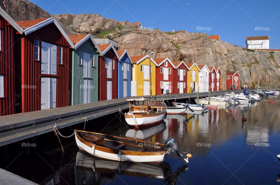 Colorful fishing huts in harbor, Smogen, Sweden