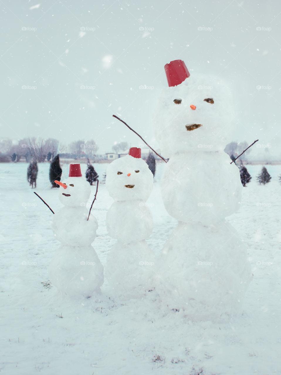 Three snowmen standing in the garden