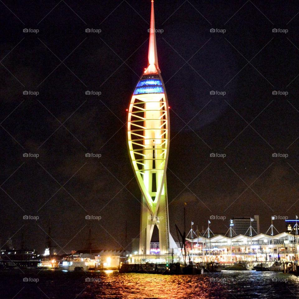 portsmouth night lights sea by craigyman