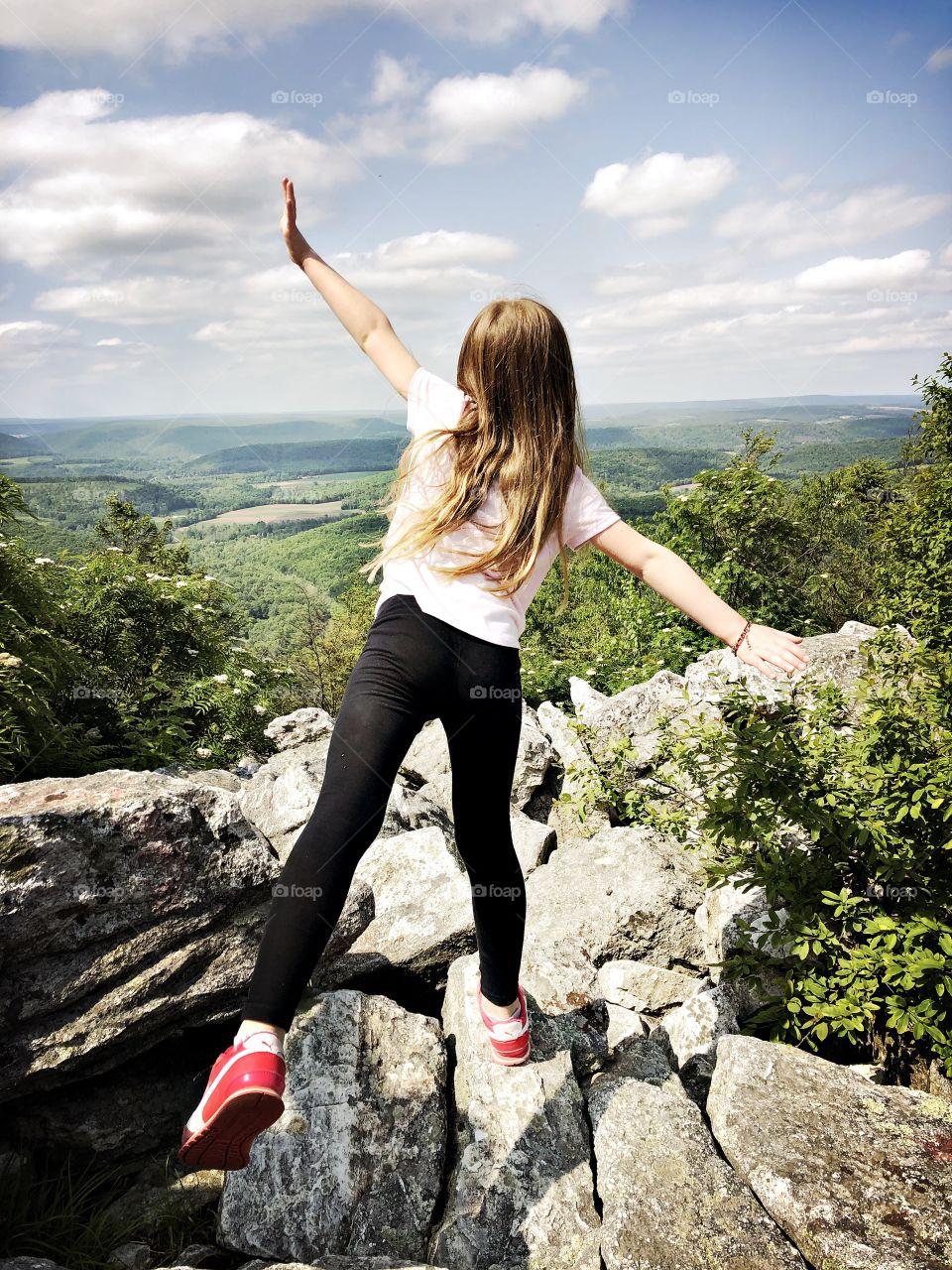 Hike to the top of Hawk Mountain, Pennsylvania.