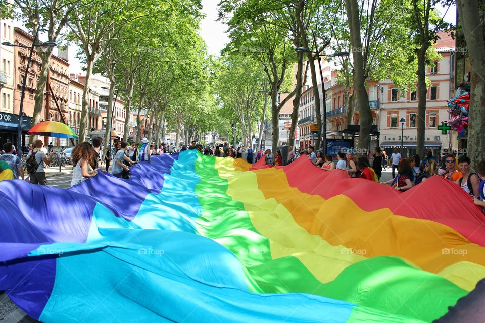 Huge rainbow flag of lgbt parade in Toulouse, France