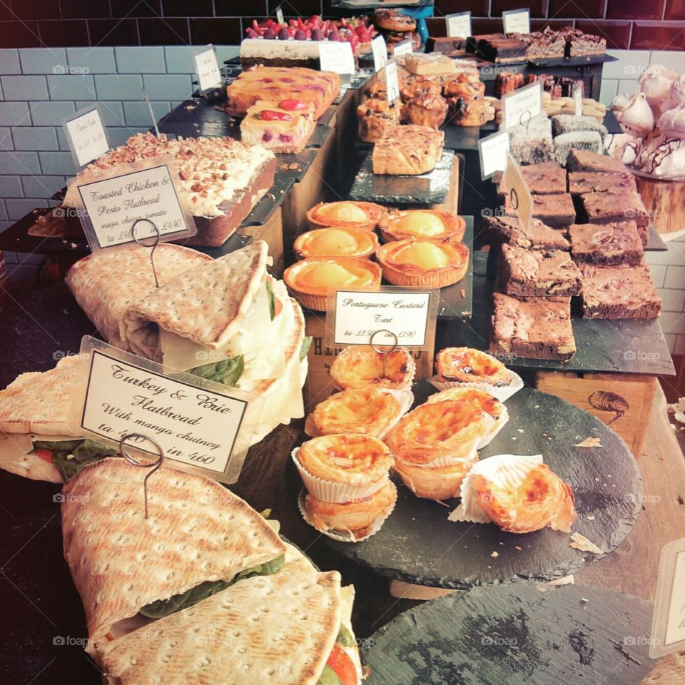 """Choice. delicious food to find at a market in """"artypart"""" of london"""