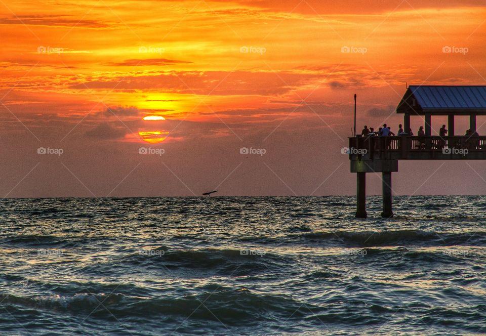 Sunset, Water, Sea, Dawn, Ocean