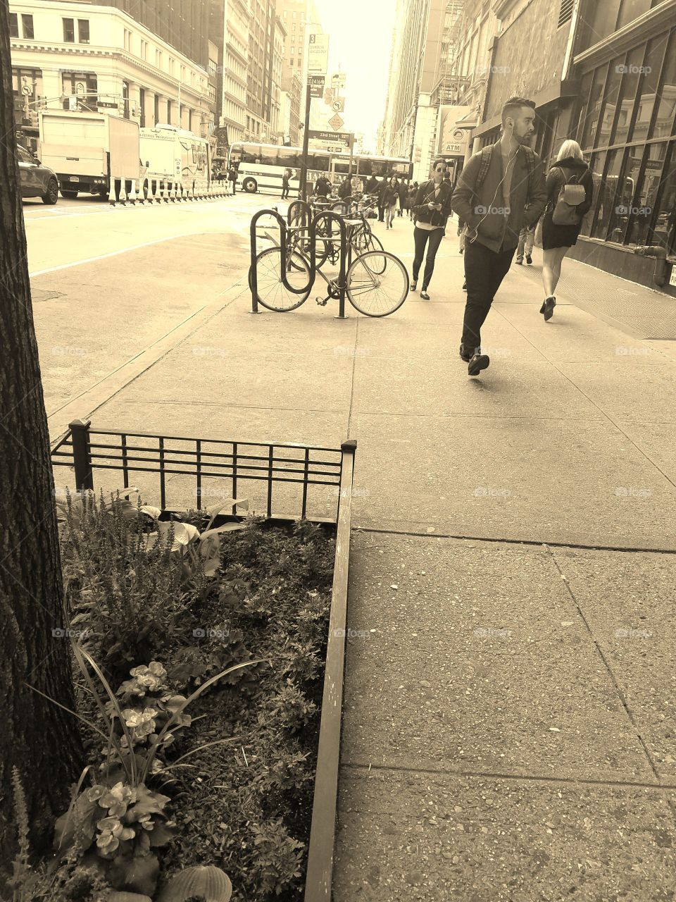 Morning Commute to Work in Manhattan near 6th Avenue and 23rd Street - People Walking - Sepia Filter