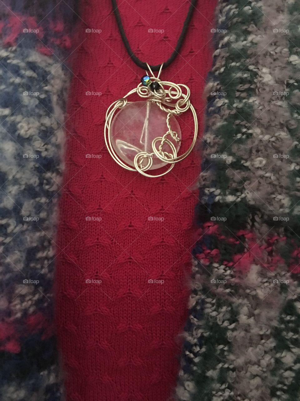 Fashion Shawl with Wire Wrapped Quartz Pendant