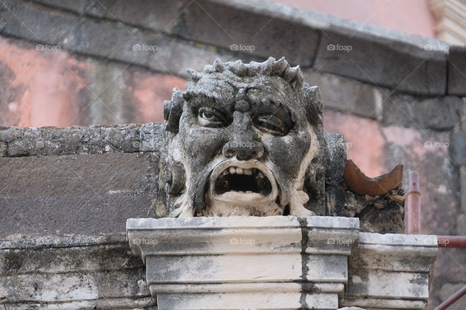 Baroque stone mask, Cathedral of Acireale, Sicily