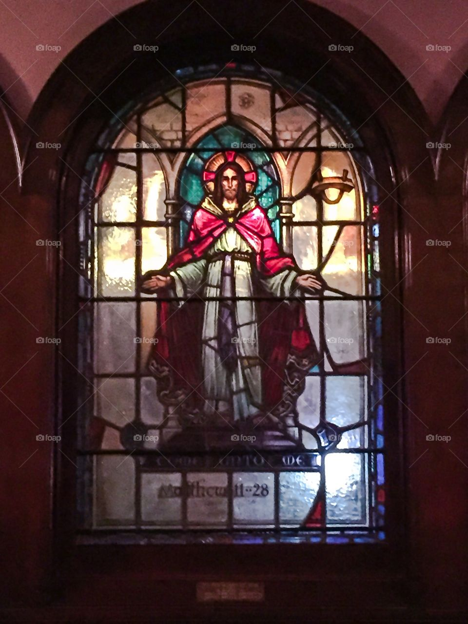 The risen Christ. Stained glass window of Jesus at Westminster Presbyterian Church in Minneapolis, Minnesota