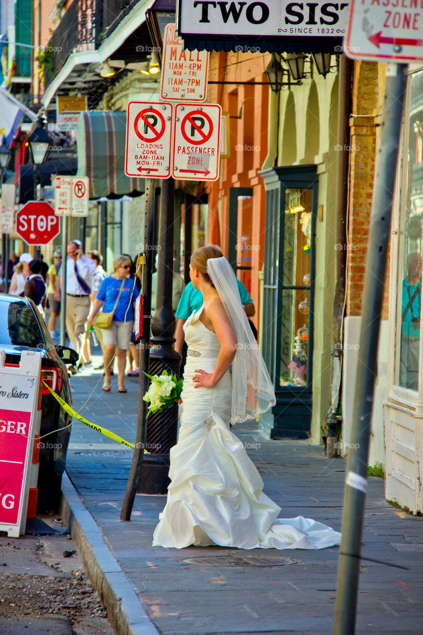 A lost bride in the French Quarter.
